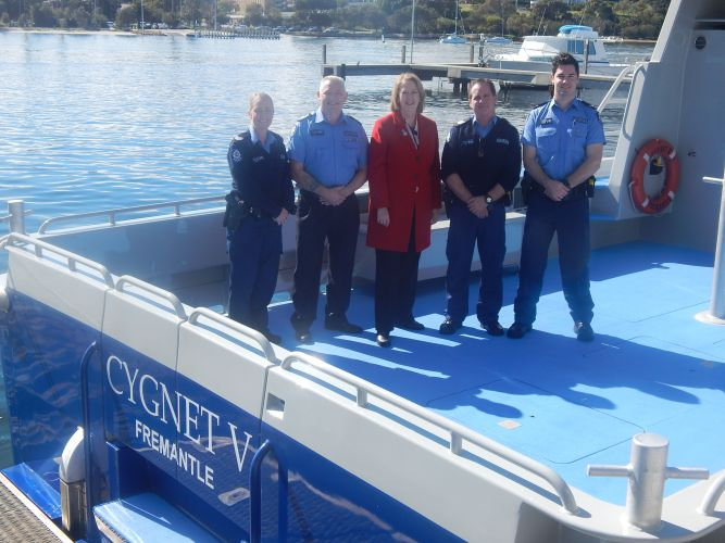 Rebecca O'Keeffe, Noel Minnock, police minister Michelle Roberts, Bruce Rodgers and Brendan Packard.