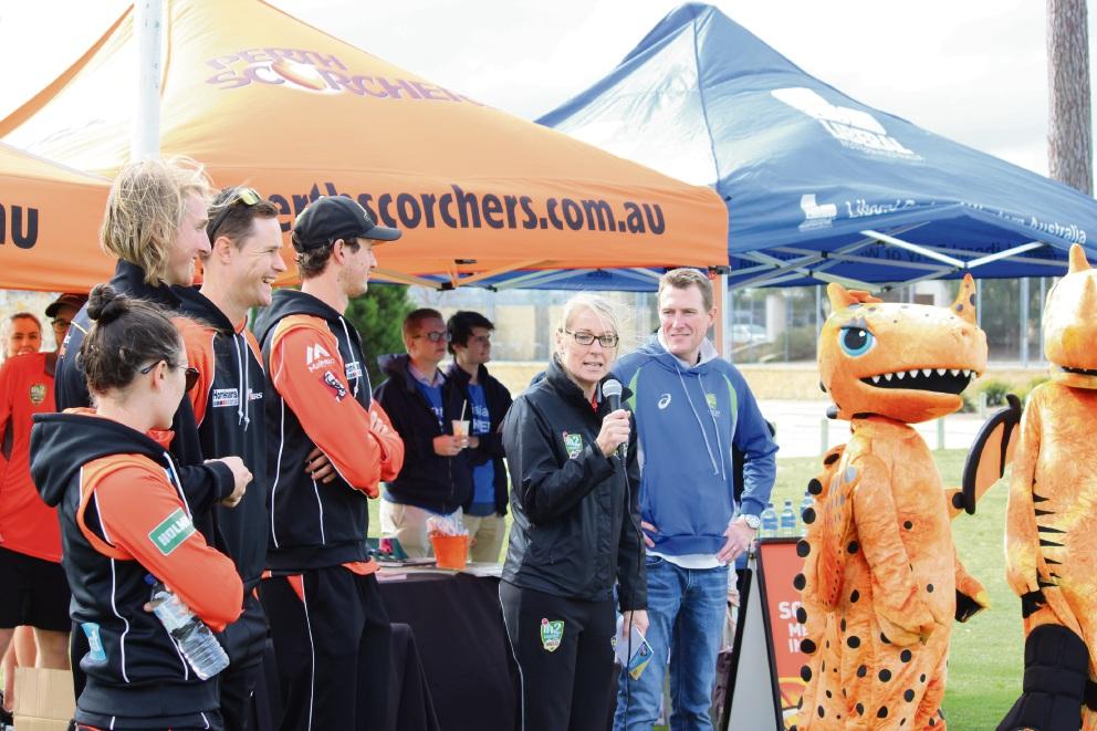 WA cricketers Jason Behrendorff, Joel Paris and Heather Graham helped Pearce MHR Christian Porter launch PlayCricket Week in Ellenbrook.