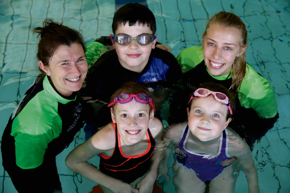 Swim instructors Julie McDonald and Samantha Appleyard with Jackson McCrory, Alicia Owen  and Lillie Cain. Picture: Martin Kennealey www.communitypix.com.au   d472635