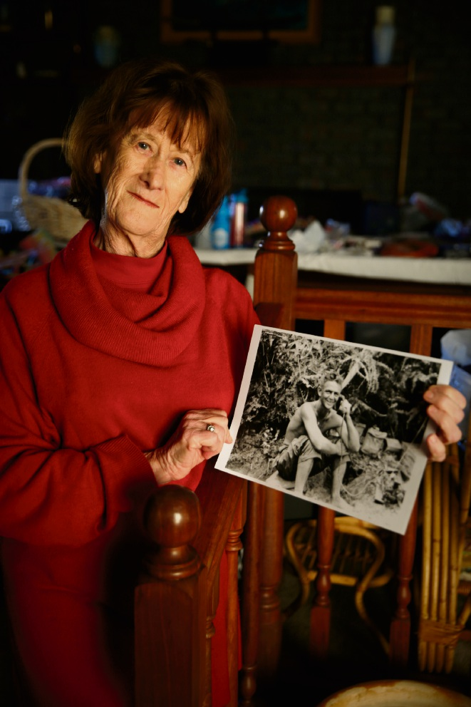 Jan Roberts with a picture of her uncle Norman Nicolay, who inspired her to start the Across the Timor Sea scholarship. Picture: Andrew Ritchie www.communitypix.com.au d472742