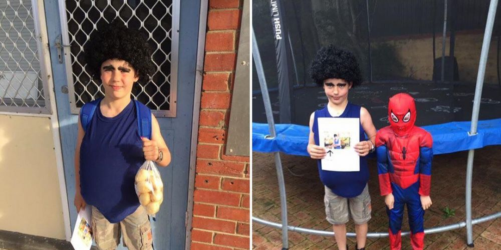 Left, Josh Gonzalez dressed as WA 'spud king' Tony Galati. Right, with Spiderman.