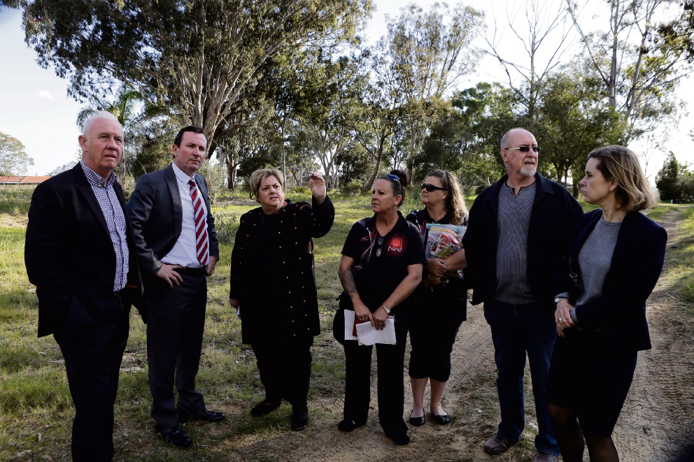 Girrawheen MLA Margaret Quirk on the site in 2015 with then Labor Housing spokesman Fran Logan and Opposition Leader Mark McGowan, community representatives Tanya Cairns, Nat Sangalli and Trevor Bordas and then Community Services spokeswoman Simone McGurk. Picture: Martin Kennealey d443051