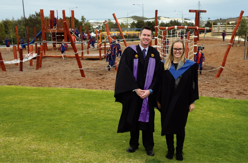 Teachers Trent Jackaman and Amy Strickland at St James' Anglican School stage 2 official opening. Picture: Martin Kennealey