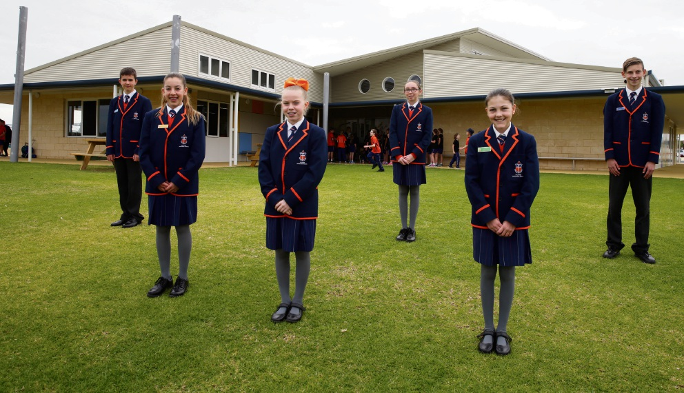 Maxim McNeela, Jemma Goulter, Liberty Boylan, Trinity Della Bosca, Elissa Quinn-Williams and Joel Lucas at St James' Anglican School stage 2 official opening. Picture: Martin Kennealey