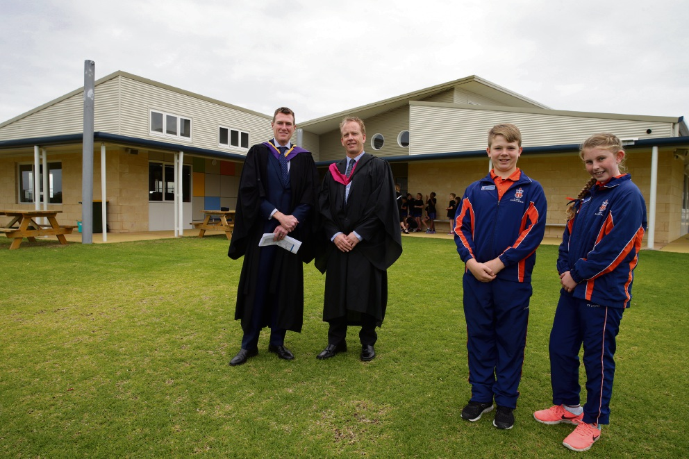 Federal Member for Pearce Christian Porter, Principal Adrian Pree and school captains Isaac Faithful and Bridget Leaman at St James Anglican School stage 2 official opening. Picture: Martin Kennealey