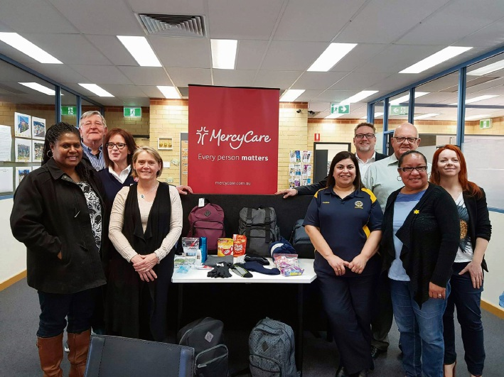 Rotary Club of Mindarie's Margaret Dull, president Ralph Sirmulis, Salvation Army Merriwa Major Nikki Novell, Andrea Folkard, Karina Martin, Darren Meakins, MercyCare place based services manager John Palmer, Violet Nou and MercyCare outcomes analyst Joni Sercombe.