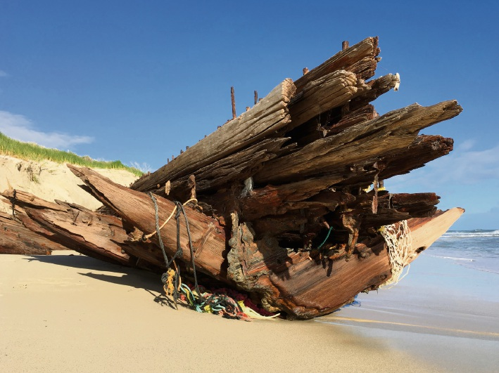 The exposed Alex T Brown wreck on August 17. Picture: Ruth Annesley