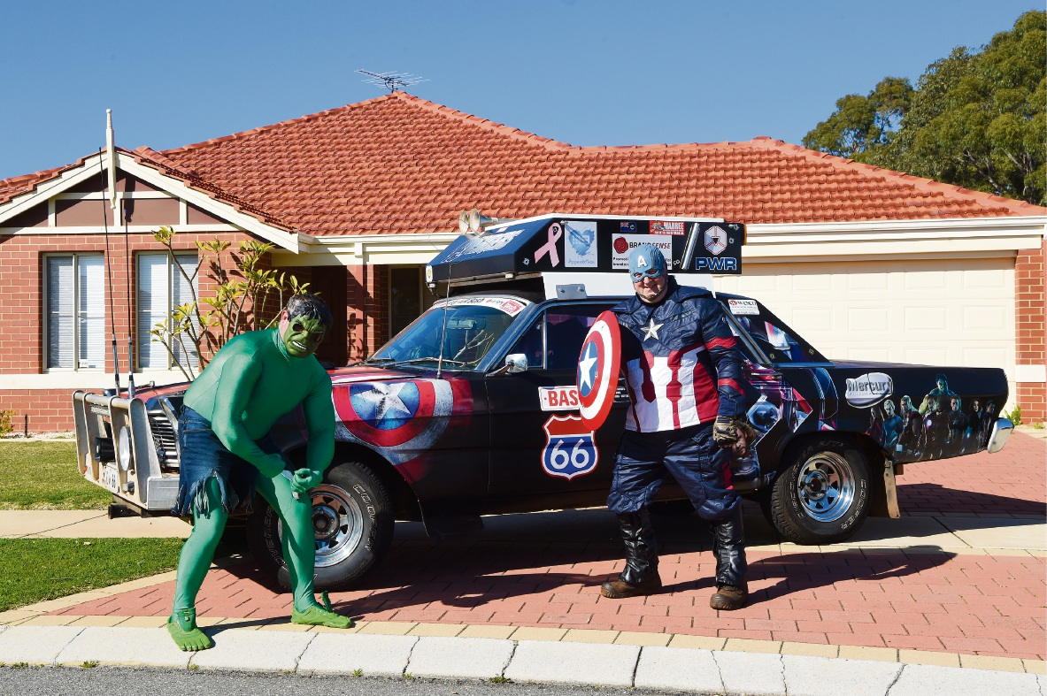 Richard Mellow and Terry Mellor with their superhero-themed car.