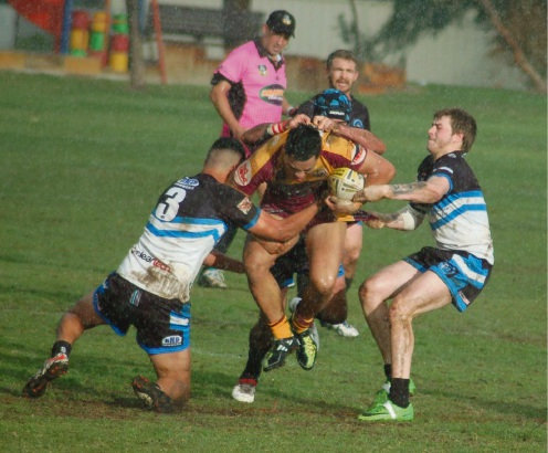 The Rockingham Sharks' defence was the cornerstone of their win against the Joondalup Giants.  Picture: Nancye Perrin.