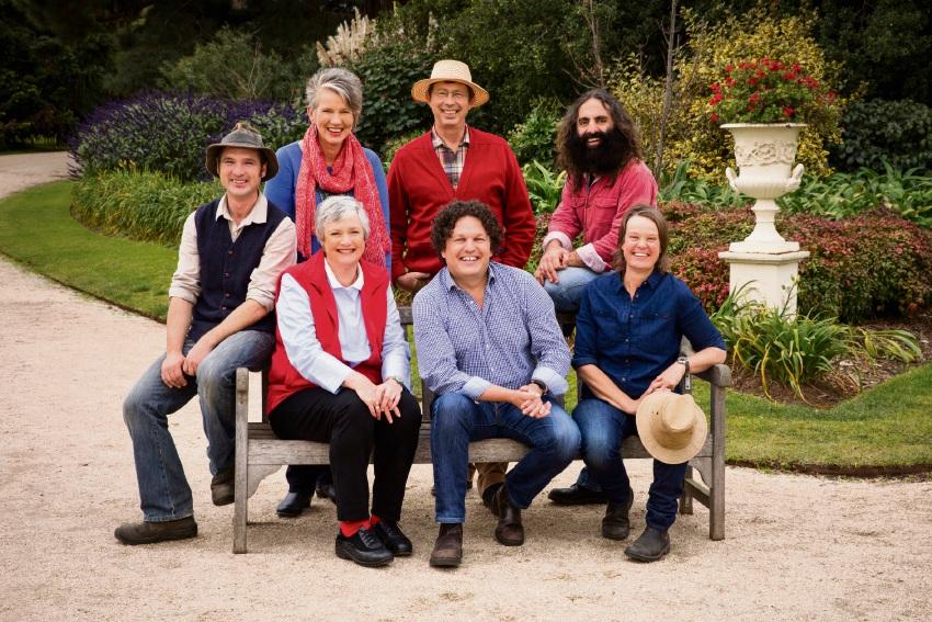 Costa Georgiadis (top right) with the Gardening Australia team.