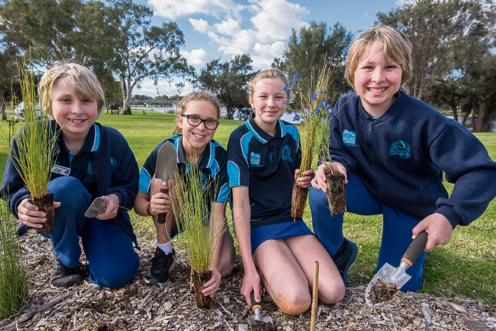 Shelley Primary School's River Rangers lend a helping hand at the WadjupGabbilju foreshore walk in Riverton. From left: Brett Watts, Moya Alloit-Wesson, Ciara Woods, and Clayton Watts. Picture: Emma Geary