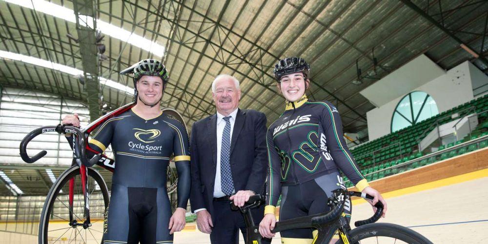 Sport and Rec Minister Mick Murray with WAIS cyclists Ben Young and Rihana Pezaj.