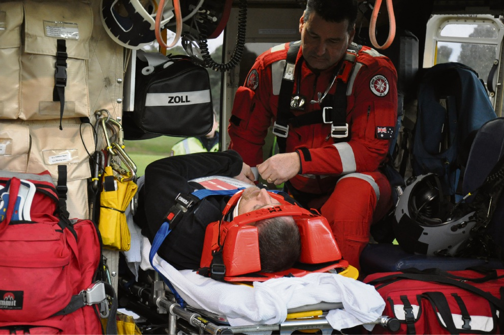 Patient Andrew Worthington with critical care paramedic Chris Oakes. Pictures: Steven Faulkner, Wanneroo Joondalup SES