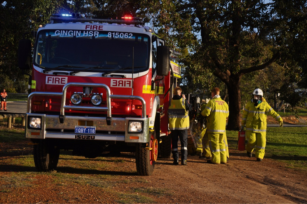 The crash exercise at Gingin Recreation Centre. Pictures: Steven Faulkner, Wanneroo Joondalup SES