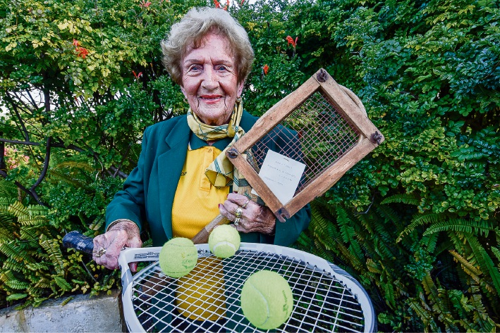 At 90 years former world seniors tennis singles champion Elsie Crowe is still playing the game she loves. Picture: Emma Geary