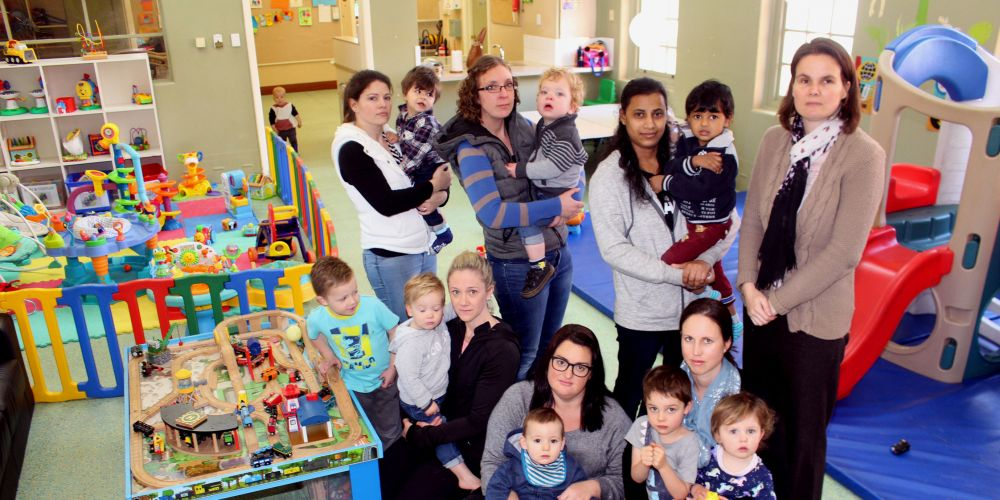 Melville City Playgroup president Nichola Tomkins (far right) with some of the members of the group and their children.
