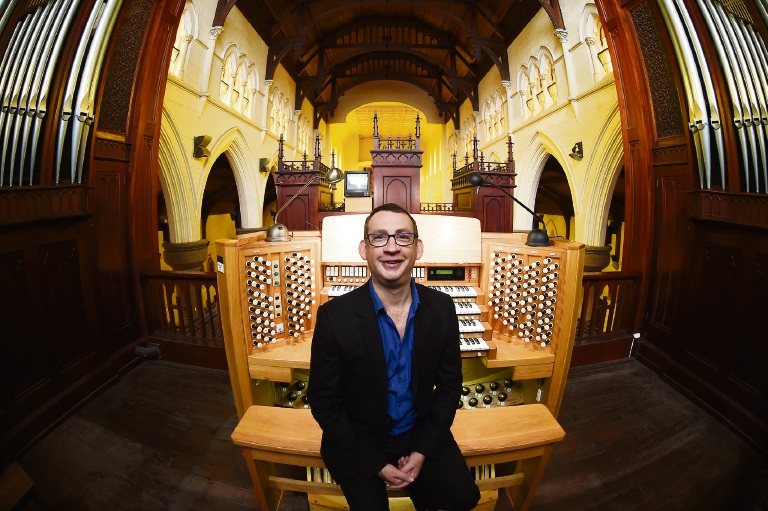 Dominic Perissinotto will have cameras trained on his hands and feet as he plays the St Patrick's Basilica pipe organ. Picture: Jon Hewson www.communitypix.com.au d472854