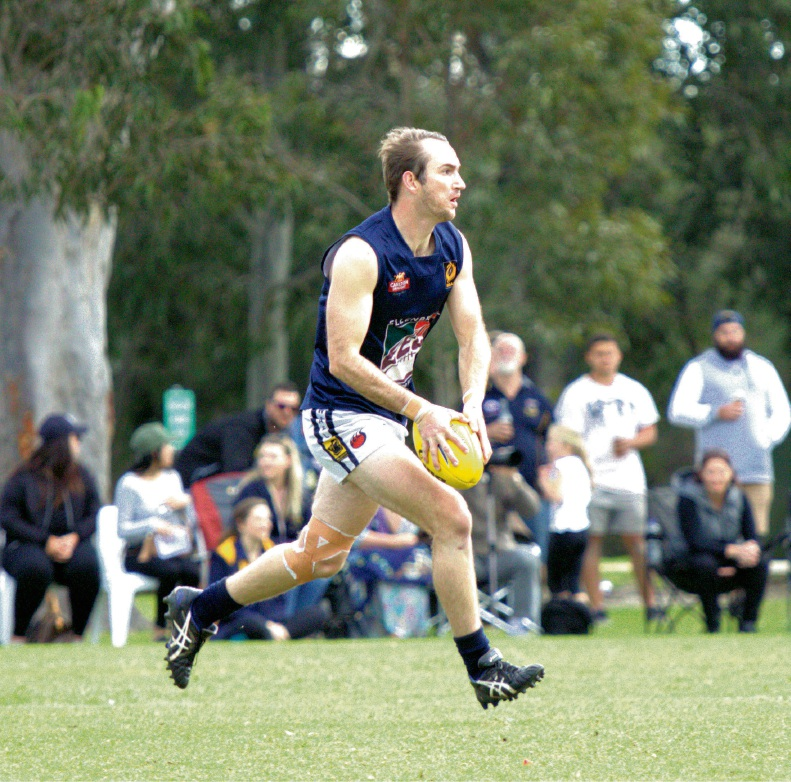 Club elder statesman Duncan Roger in his 150th game. Picture: Aaron Diss