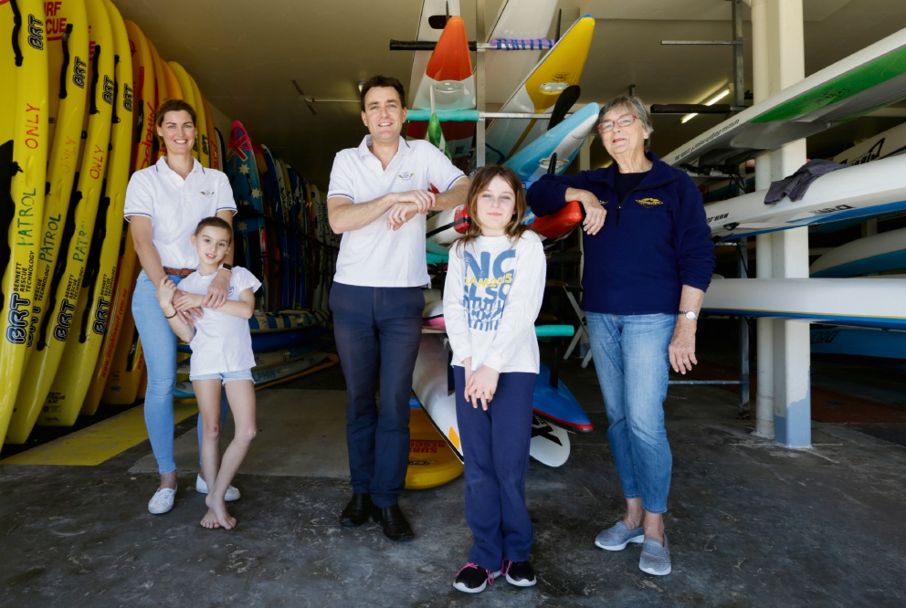 Kate Carbone and daughter Olivia (8), Sam Knowles and daughter Aisling (10) and Aroha Knowles. Picture: Andrew Ritchie d473084