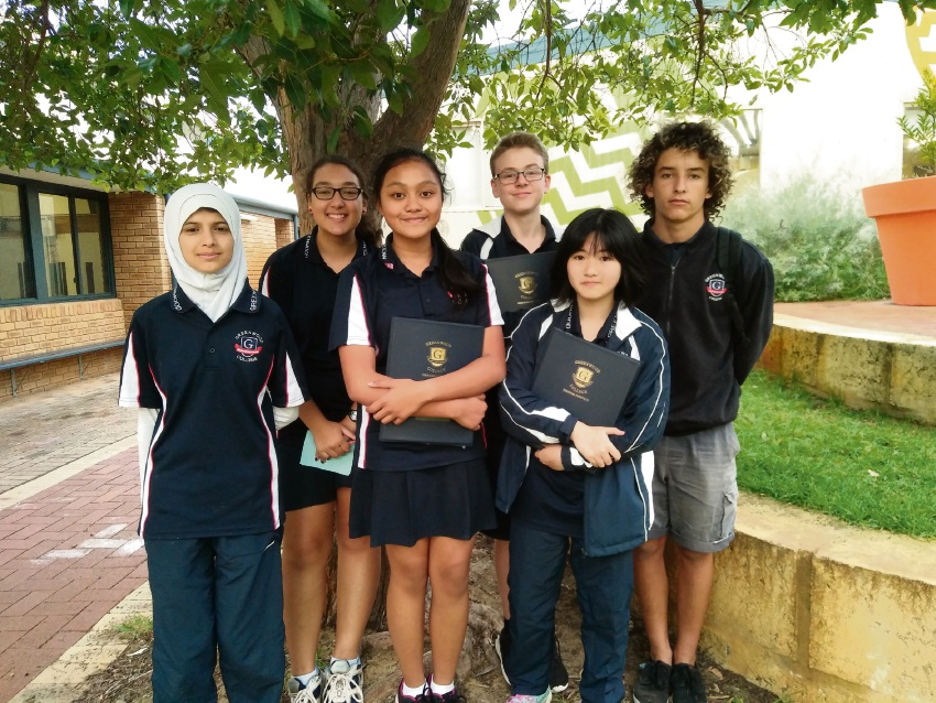 Greenwood College debating team members Asmaa Hameed, Jacque Walters, Cyrine Almodovar, Konrad Dumpleton and Ann Cao (year 8) with Year 11 student coach Marcel Masqué Salgado.