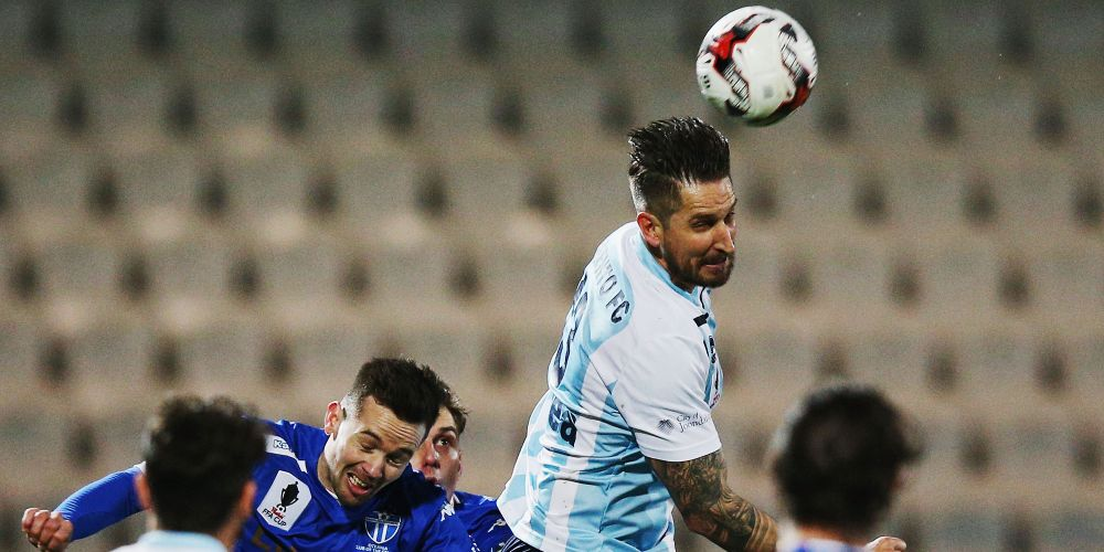 Steven McDonald of Sorrento heads the ball during the FFA Cup match against South Melbourne. Picture: Getty Images