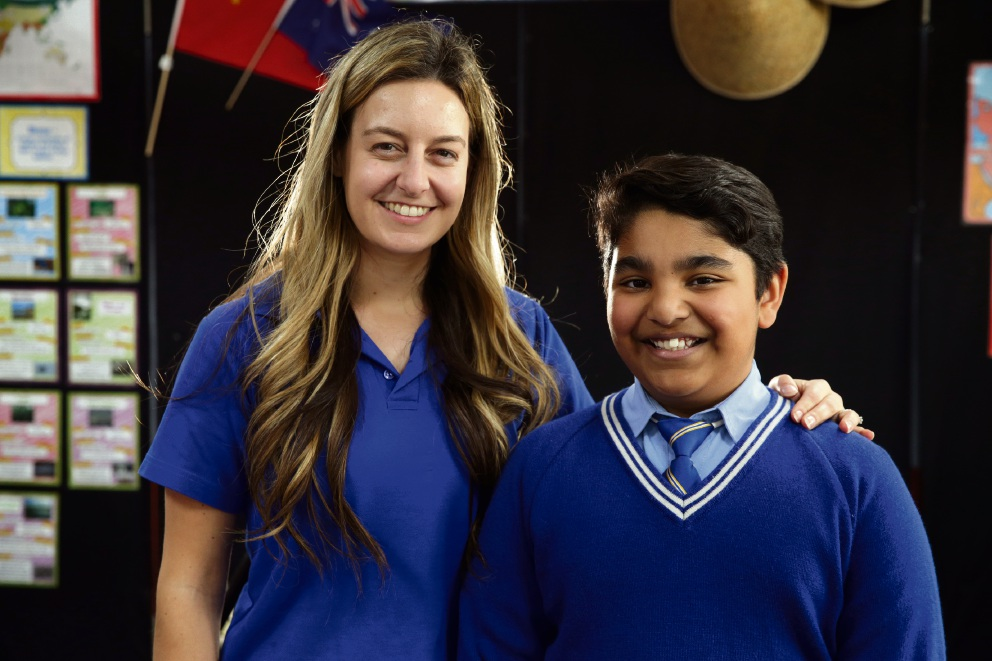 Teacher Stephanie Gullotto and Derrick Goonting. Picture: Martin Kennealey
