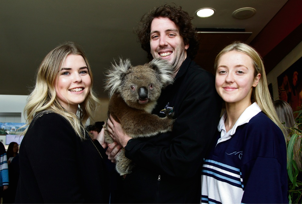 Taking part in the sustainability expo is Jared Pettit from WestOz Wildlife with the koala Judah, and teacher Jane Ferguson and student Leigh Murray (17). Picture: Marie Nirme