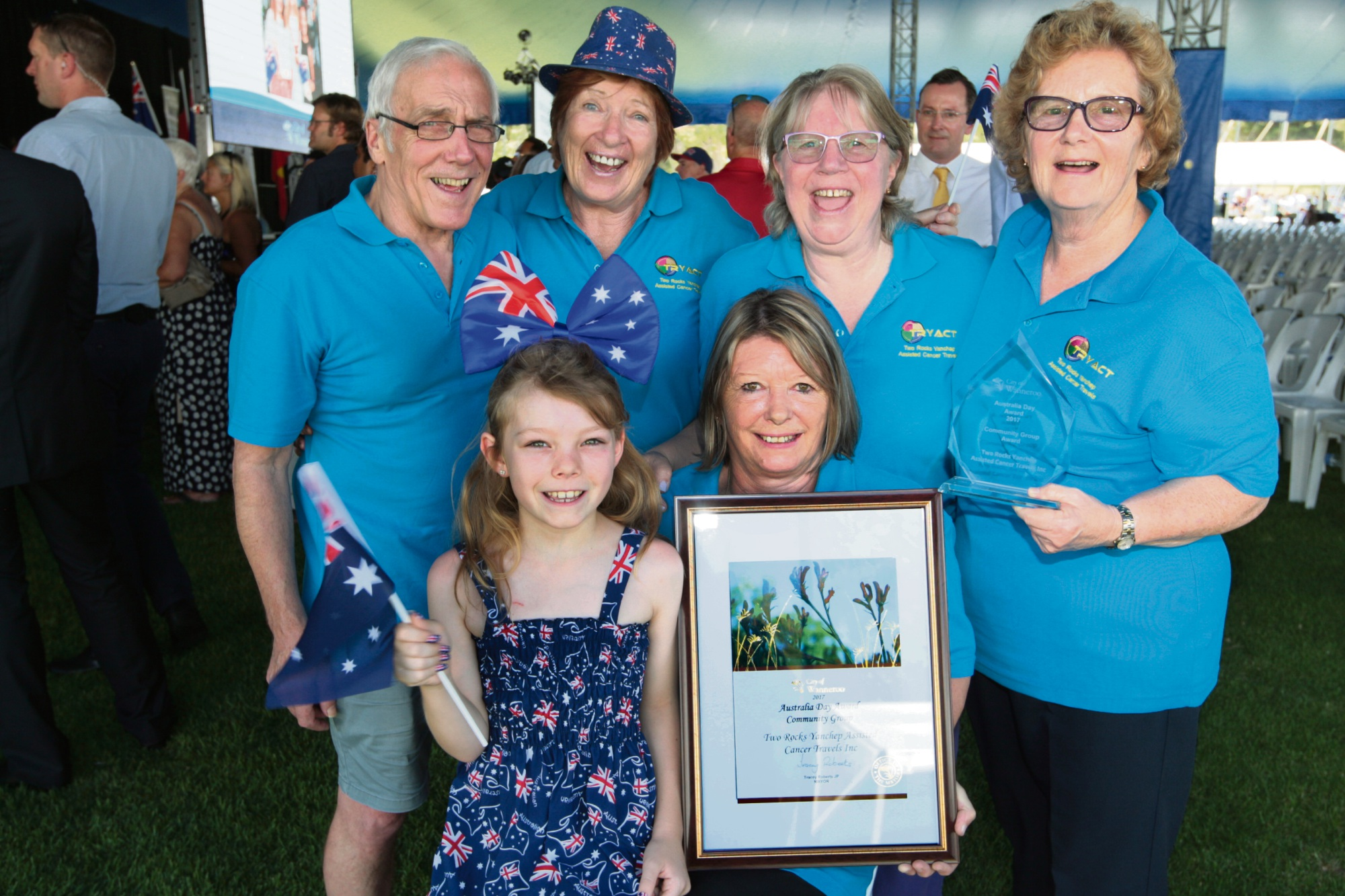 Two Rocks Yanchep Assisted Cancer Travels won the community group award at this Year's City of Wanneroo Australia Day event. Members Ron Hutchins, Anita Stockburger, Jo Hutchins and Jayne Senior with (front) Krystal Fallows and Sue Dash attended the ceremony. Picture: Bruce Hunt d464483