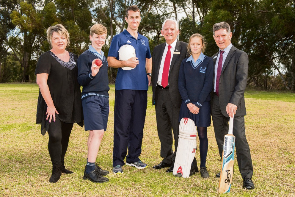 Year 7 students Liam Marriott and Anika Wicks with Joe Kendall, Ian Lyons, Parents and Friends president Karen Lawson and Matthew Hughes, celebrate the new cricket pitch funding on the school oval for the 2017-18 summer season. Picture: Chris Jeffrey