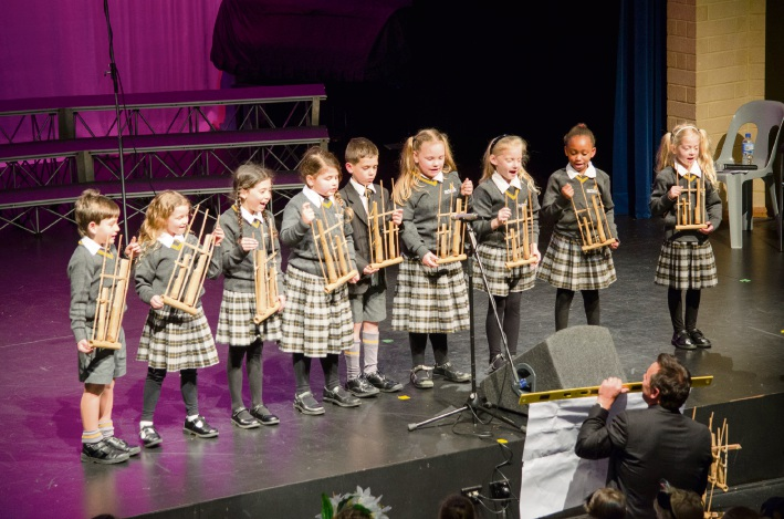 "Northshore Christian Grammar School students performing ""Satu Satu"" in Indonesian, with Angklung instruments."