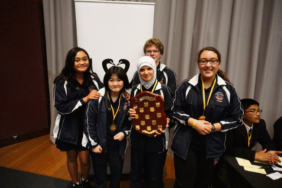 Greenwood College debating team members Cyrine Almodovar, Ann Cao, Asmaa Hameed, Konrad Dumpleton and Jacque Walters (year 8).