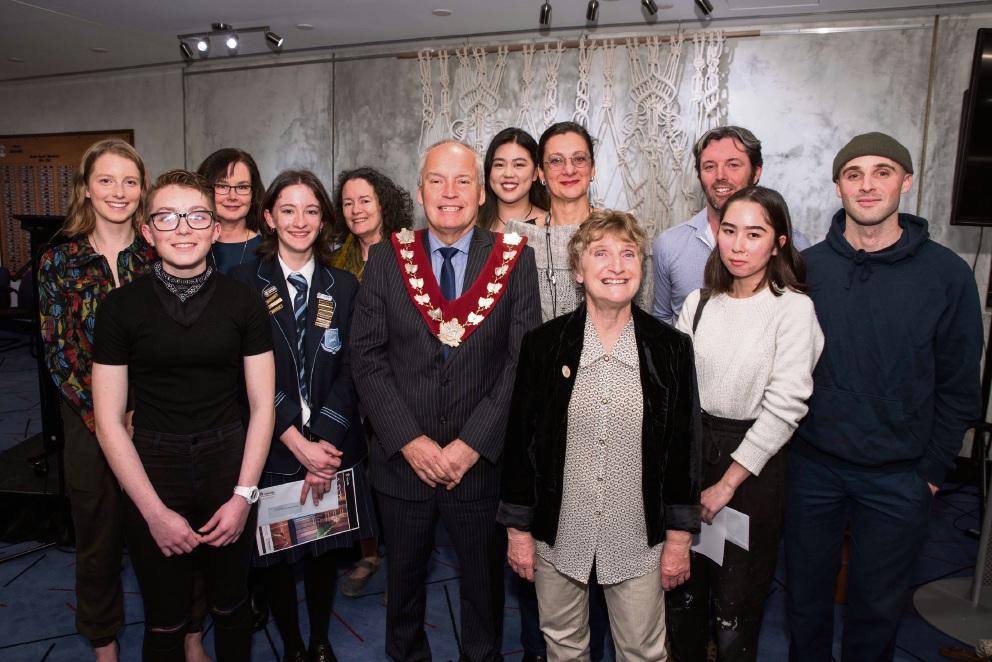 City of Melville Art Award winners with mayor Russell Aubrey.