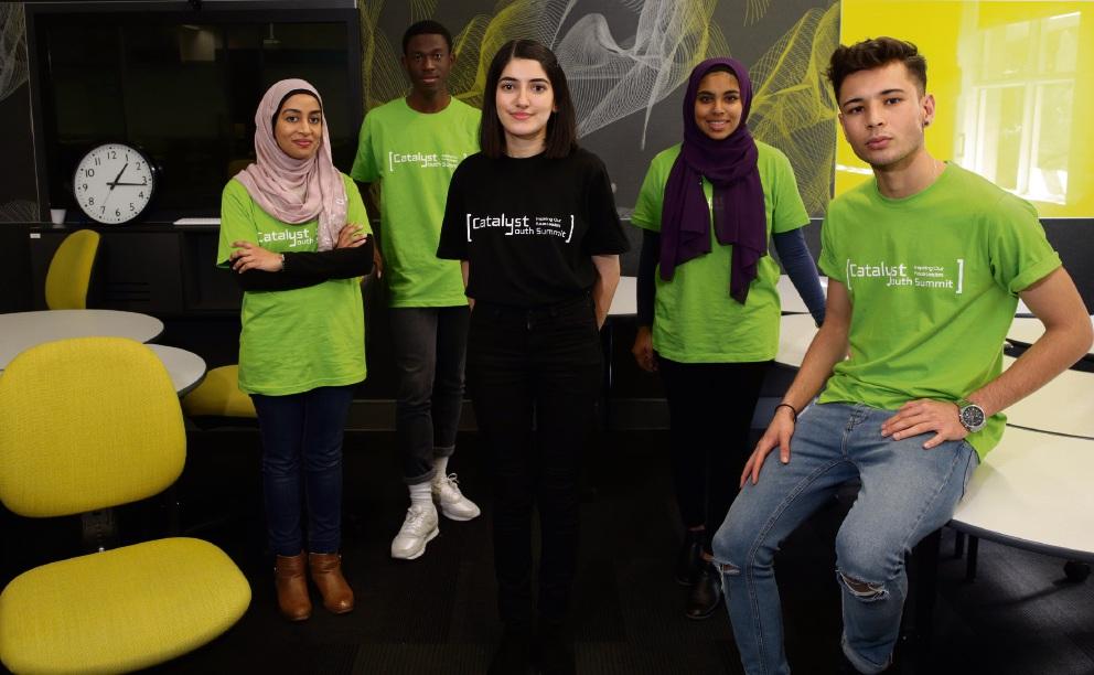 Youth delegates Zainab Zaki, Heritier Kasanda, summit organiser Fatema Shalemie, Sabrah Imtiaz and Liaqat Sultani. Picture: Martin Kennealey www.communitypix.com.au d471175