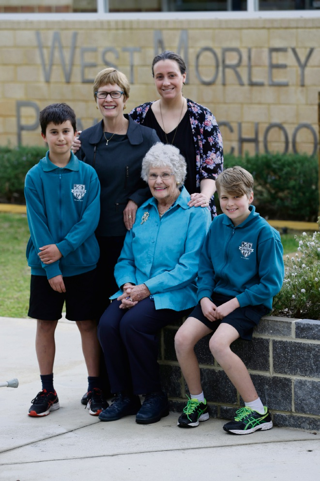 L-R Tomas Knuckey (y6), Sue Pedrotti, Val Russell (sitting) and Emma Pedrotti and Sienna Chapman (y6). West Morley PS will celebrate its 50th anniversary at an Open Day picnic event on September 23. A profile story on three generations of teachers at the school, featuring current teacher Emma Pedrotti. Her grandfather Graham (deceased) was also a principal of the school. Picture: Andrew Ritchie www.communitypix.com.au   d473247
