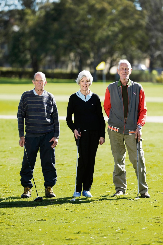 Colin Raven (Menora), Jan Mounyard (Ballajura) and Frank Prior (Bayswater). Mayalnds Veterans Golf Club are looking for new members to join in a nine-hole competition each week at the maylands Peninsula Golf Club are looking for more members. Picture: Andrew Ritchie www.communitypix.com.au   d473141