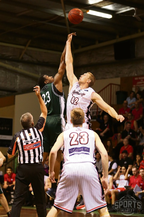 The Redbacks and Wolves tip-off during an earlier clash. Picture: Michael Farnell, sportsimagery.com.au