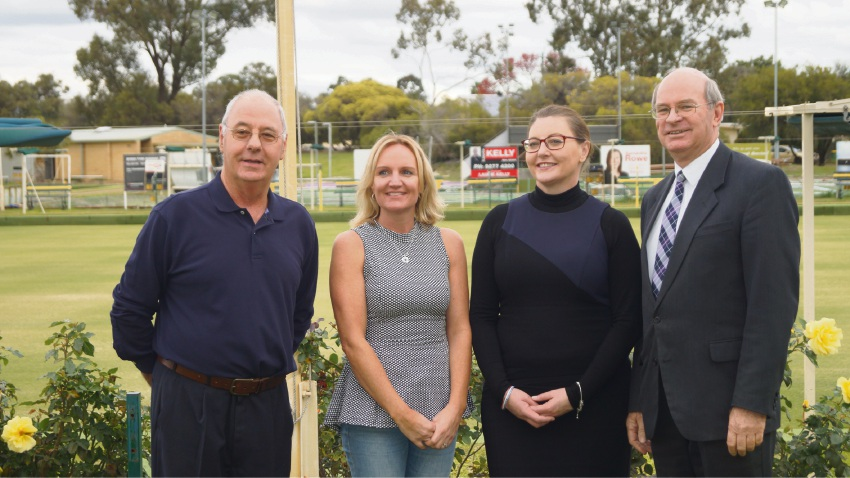 Barry Rowe, Jenny Davis, venue manager Liz Jackson and Belmont Mayor Phil Marks.