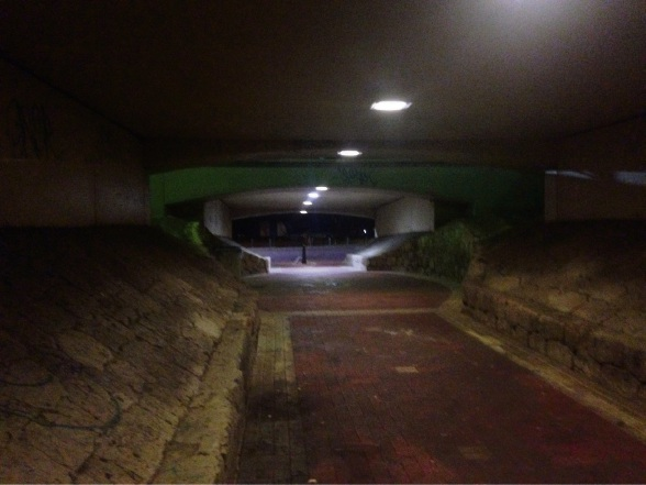 The Collier Pass underpass before the new lighting was installed.