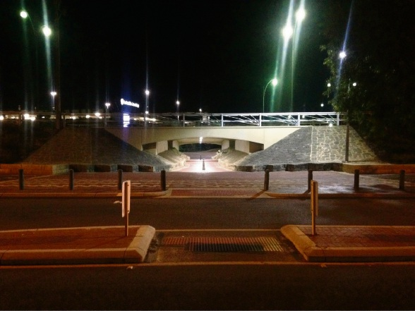 The new lighting at the Collier Pass underpass.