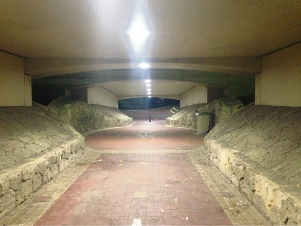 The Collier Pass underpass after the new lighting was installed.
