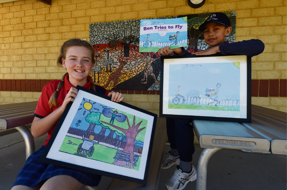 South Coogee Primary School students Katherine Moore (Year 6) and Zane Anderson (Year 2) have had their illustrations chosen for the book Ben Tries to Fly, with Zane's used as the cover image. Picture: Jon Hewson