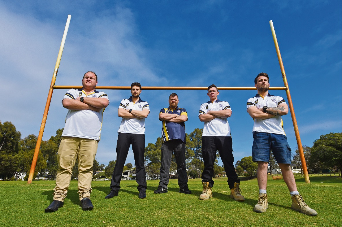 Applecross Jets Rugby League club's Cody McColl, Mitch Fraser, Michael Fussell, Jad Meale and Josh Anstis. Picture: Jon Hewson d472927