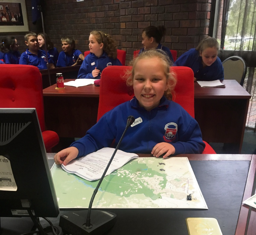 Forrestfield Primary School student Casey Slater, at the City of Kalamunda Council Chambers
