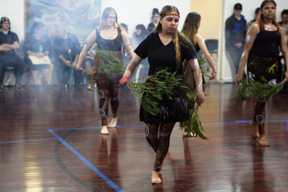 Aboriginal dancers performing at the relaunch of the Midland PCYC. Picture: Bruce Hunt.