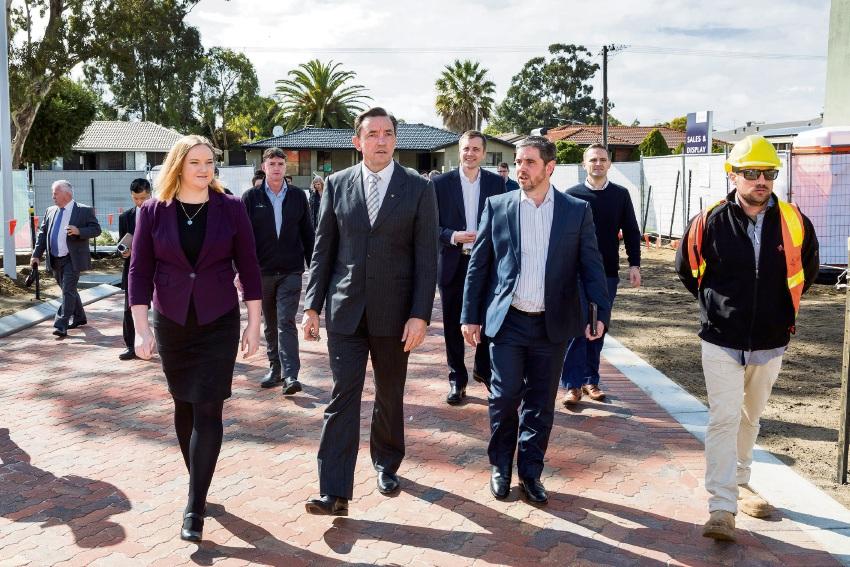 Kingsley MLA Jessica Stojkovski, Housing Minister Peter Tinley and Frasers Property Australian WA residential general manager Stuart Gardiner.