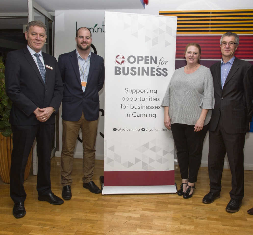 From easy-to-eat scones to  business apps, the Ignition program had something for everyone. Deputy Mayor Lindsay Holland, scholarship recipients Ian Balfe and Nicole Smith and City of Canning strategic positioning executive manager Mark Holdsworth at the event.