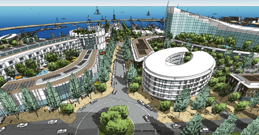 An artist impression of the Ocean Reef Marina.