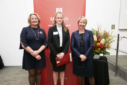Mandurah Mayor Marina Vergone, Tailah Greenwood and vice chancellor Eeva Leinonen.