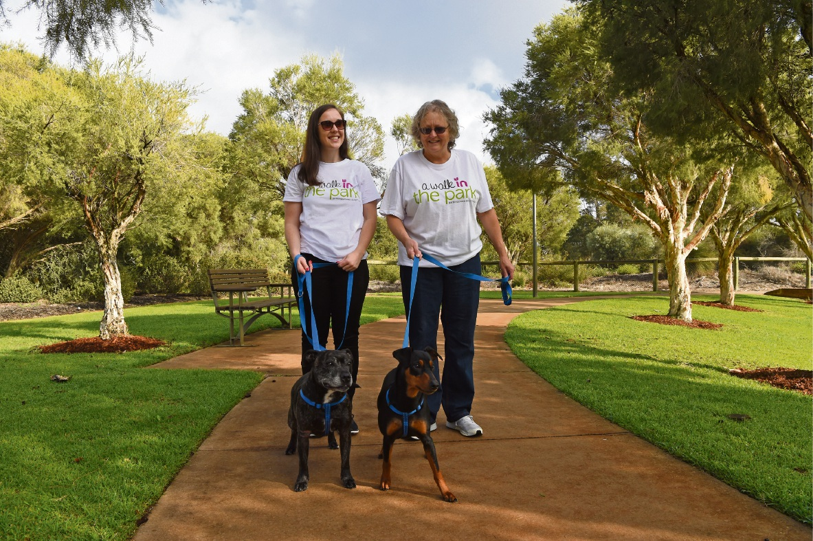 Lisa and Tamara Clarkson with their dogs Charli and Olivia. Picture: Jon Hewson d473303