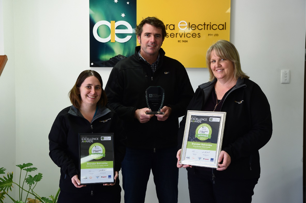 Heather Major, Brendan Balcombe and Rhonda Wells from Aurora Electrical. Picture: Jon Hewson
